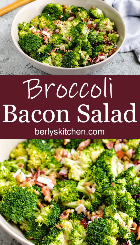Collage style photo of broccoli salad with bacon.