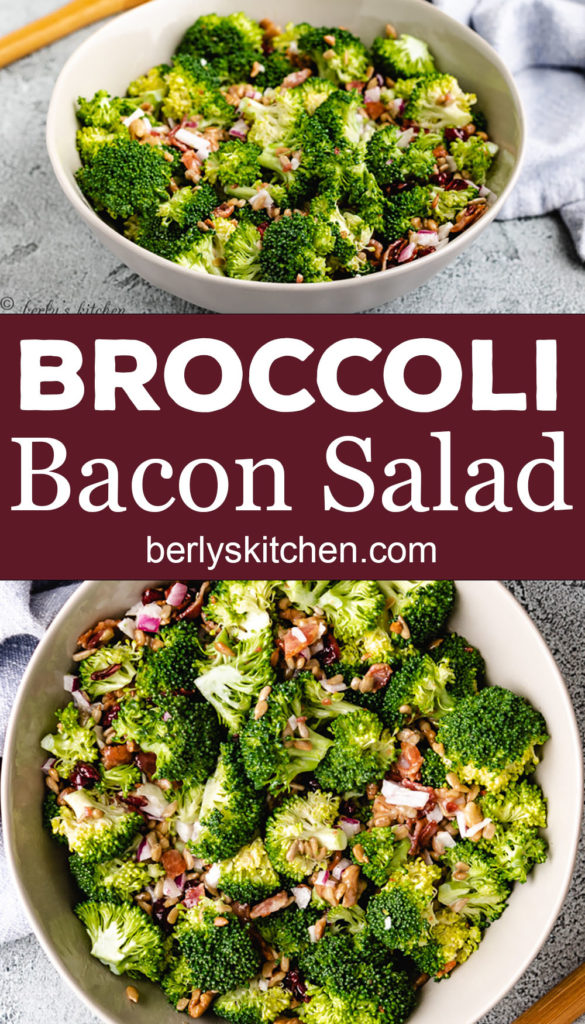 Collage style photo of broccoli salad in a large bowl.