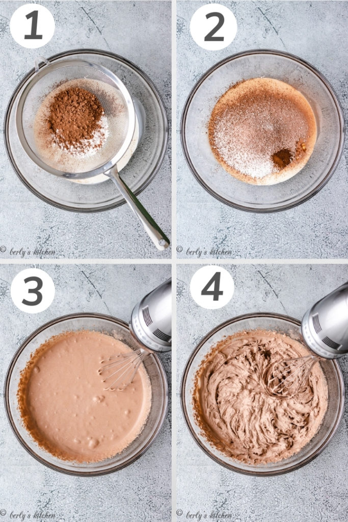 Collage style photo showing how to make chocolate whipped cream.