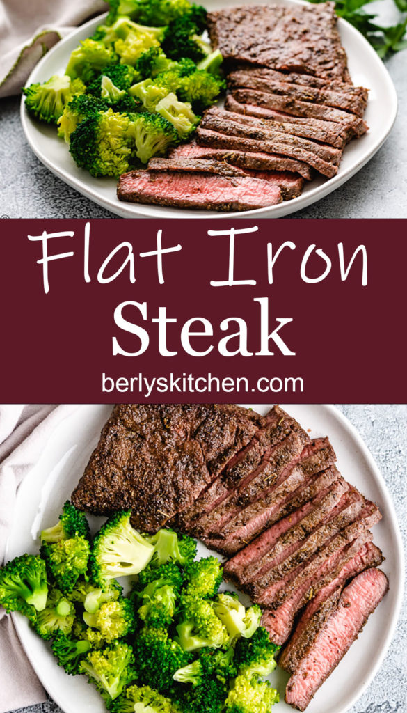 Collage showing two photos of flat iron steak with vegetables.