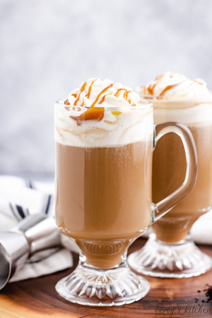Frangelico coffee with homemade whipped cream and caramel.