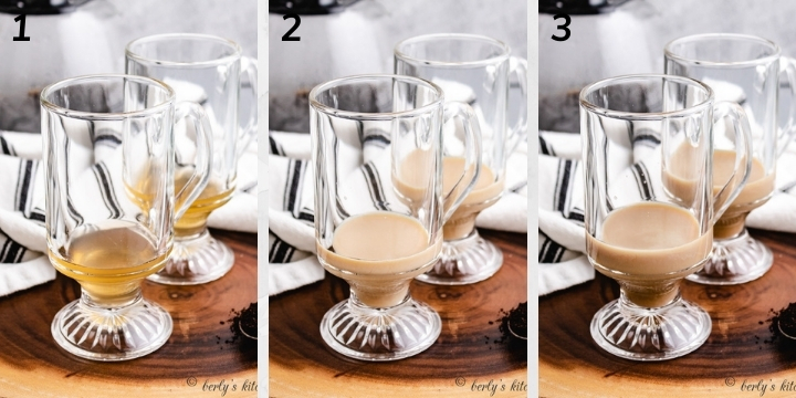 Collage style photo showing liqueurs being added to glasses.