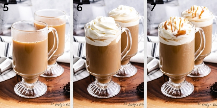 Collage style photo showing coffee and whipped cream being added to glasses.