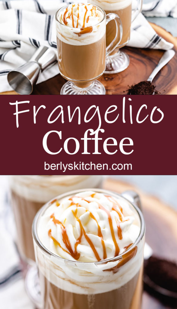 Collage style photo of hazelnut coffee with caramel.