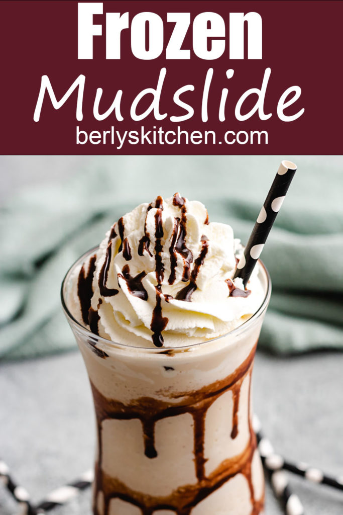 Frozen chocolate cocktail drink with chocolate syrup.