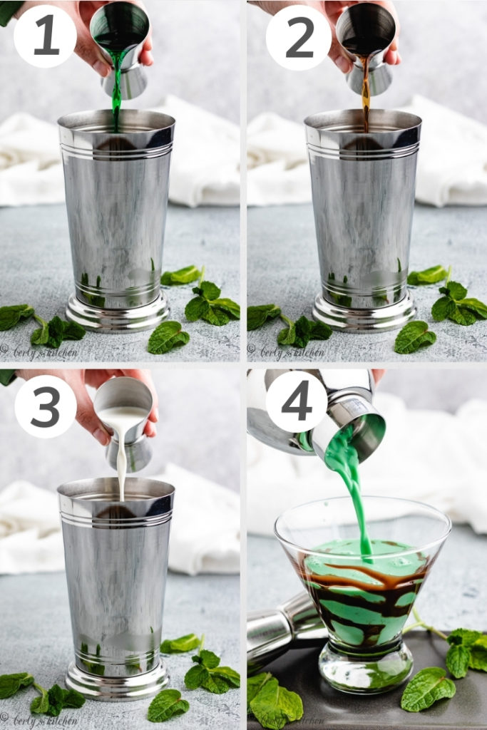 Collage style photo showing how to make a grasshopper cocktail.