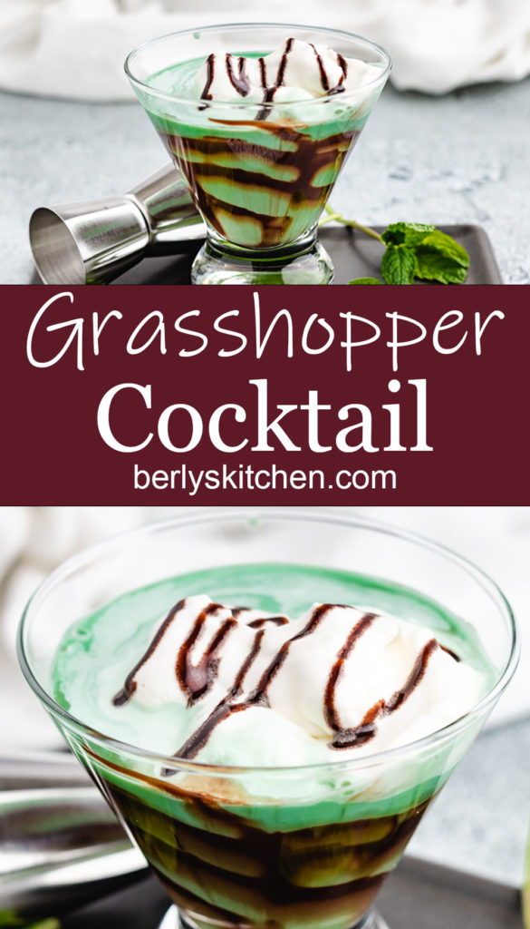 Collage style photo of grasshopper drink in a stemless glass.