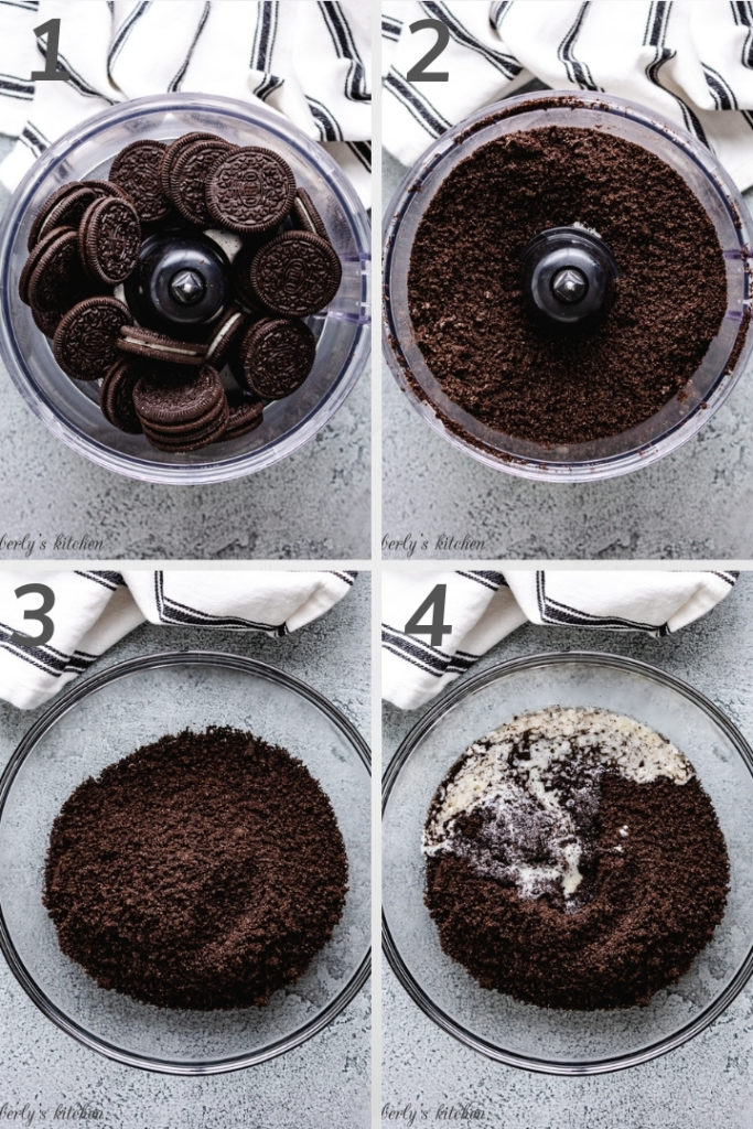 Collage style photo showing how to make cookie crumbs in a food processor.