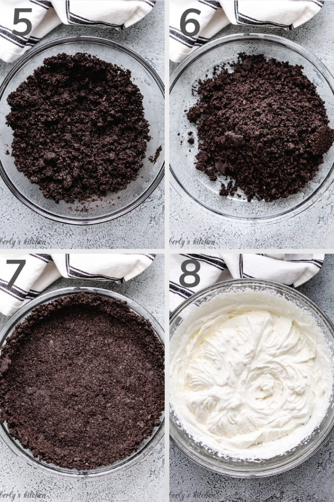 Collage style photo showing how to make homemade whipped cream.