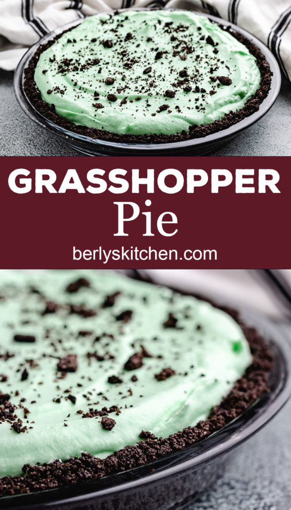 Collage style photo showing grasshopper pie with oreo topping.