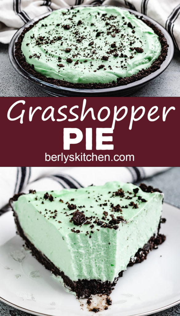 Bite taken out of a slice of grasshopper pie.