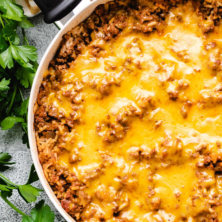 One-pan ground beef casserole with cheese.