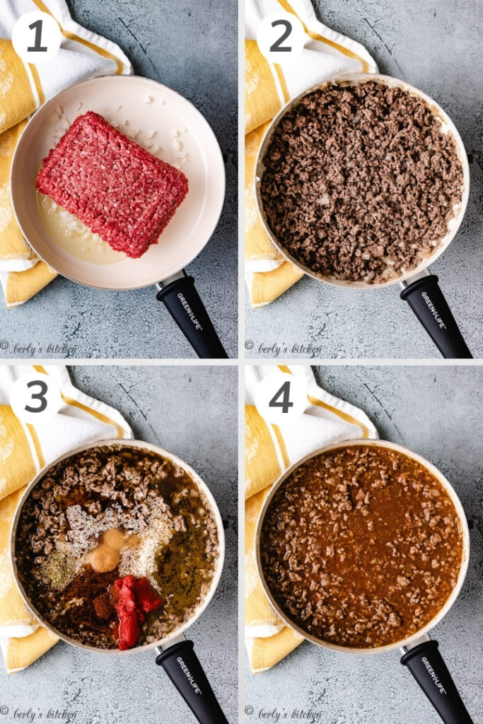 Collage style photo showing how to brown ground beef.