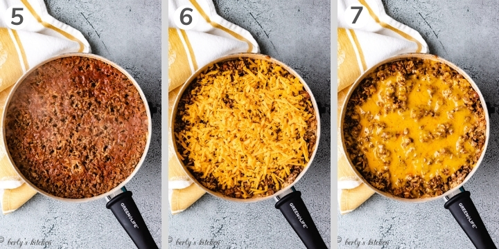 Collage style photo showing how to make hamburger rice casserole.