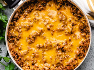 Top down view of hamburger rice skillet meal.