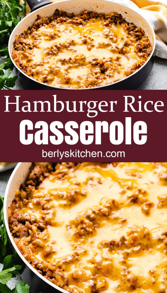 Collage style photo of hamburger rice casserole with cheese.