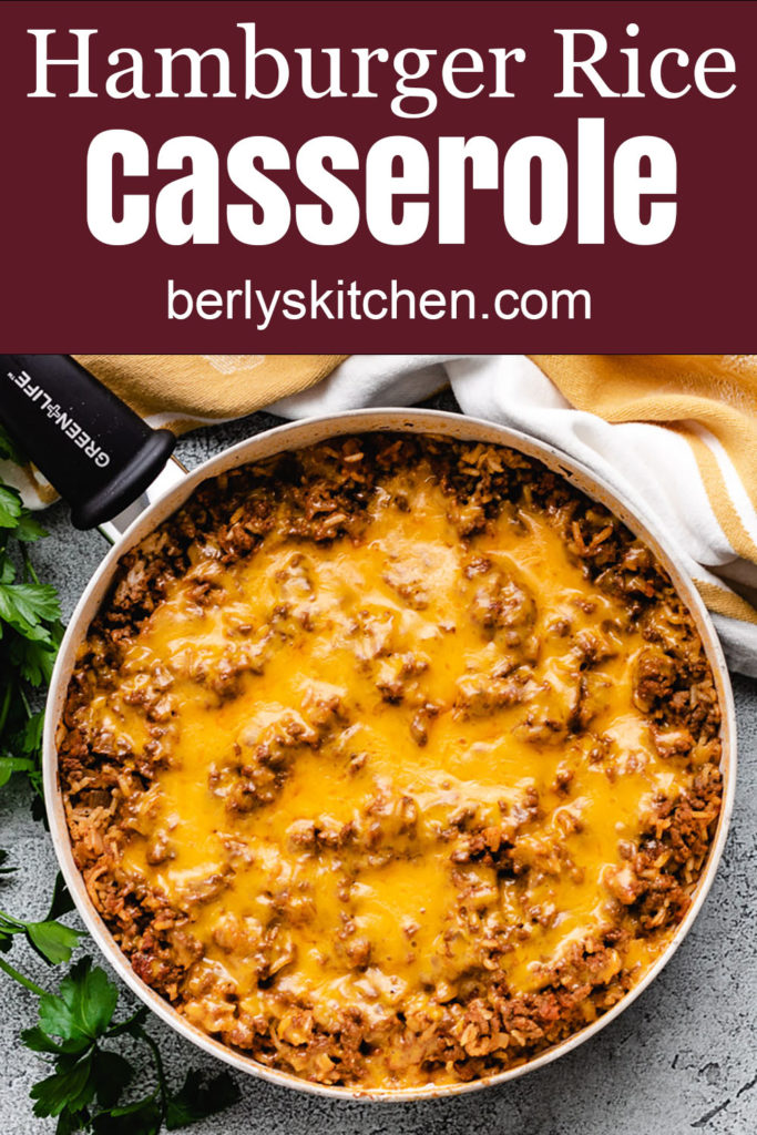 Cheesy hamburger casserole in a skillet.