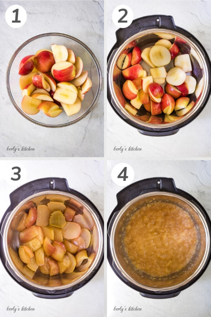 Collage style photo of how to make instant pot applesauce.
