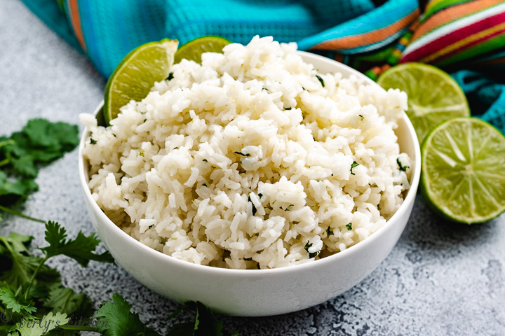 Instant Pot cilantro lime rice in a bowl.