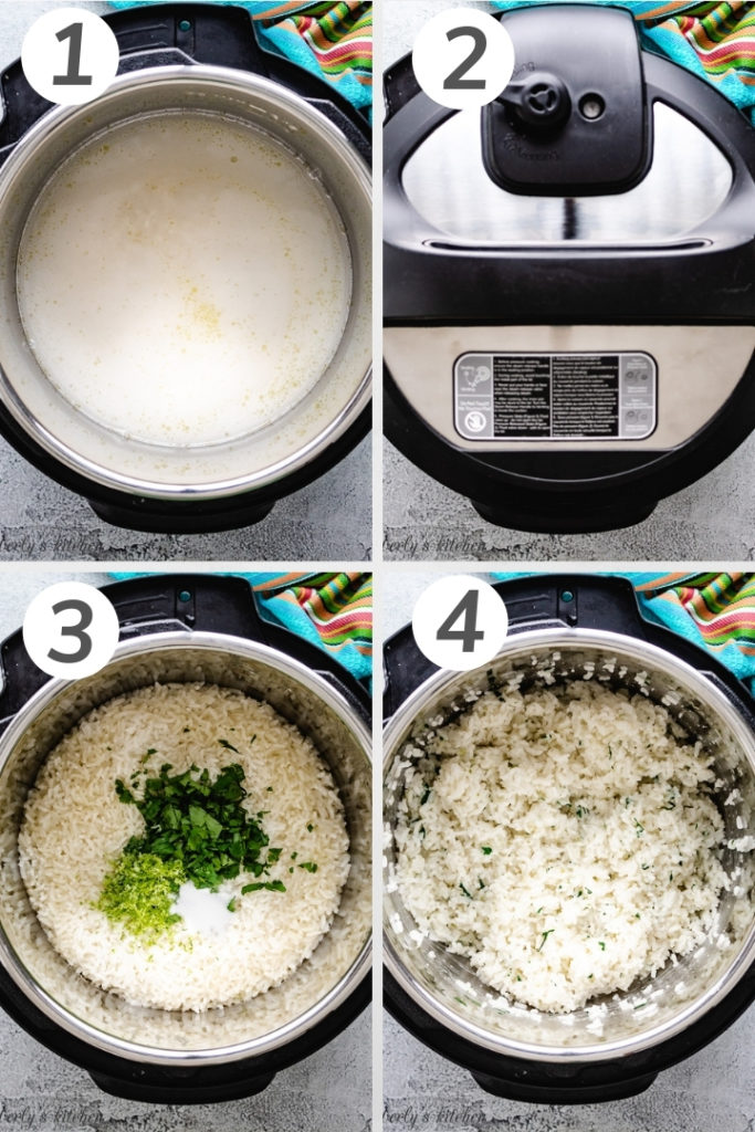 Collage style photo showing how to make Instant Pot Cilantro Lime Rice.