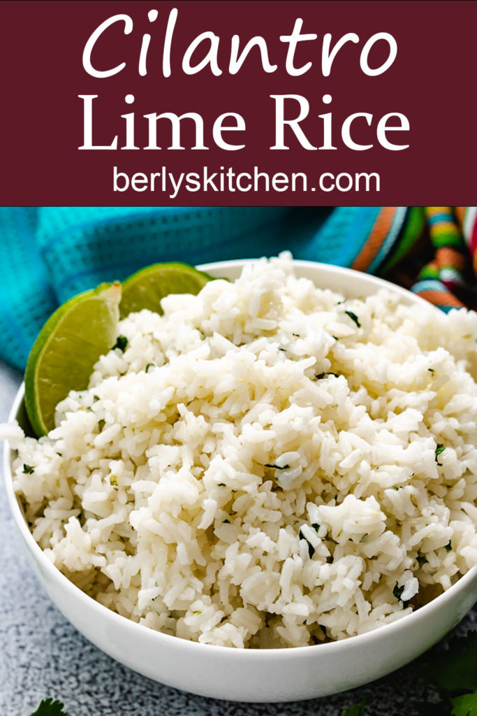 Rice with cilantro and lime in a blue bowl.