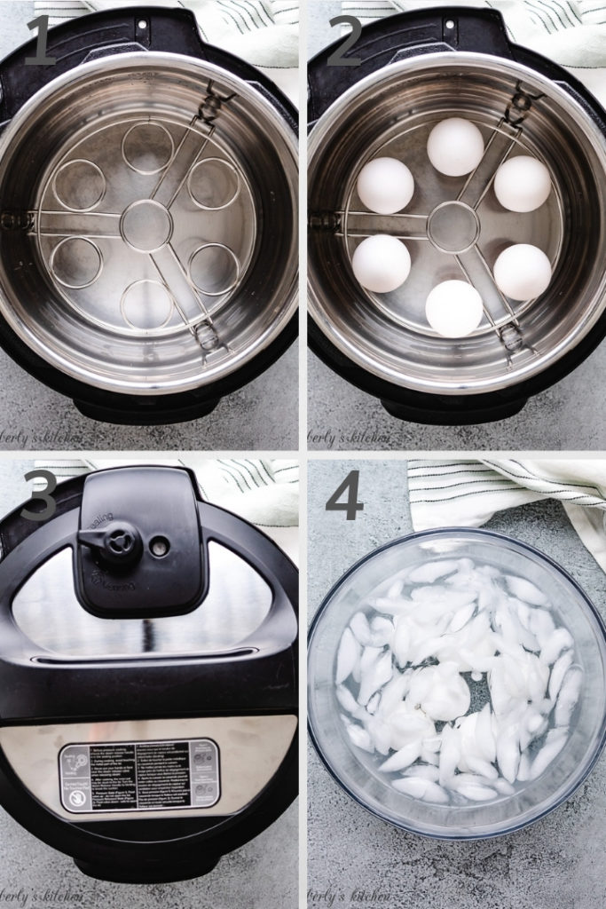 Collage style photo showing how to make boiled eggs in the Instant Pot.