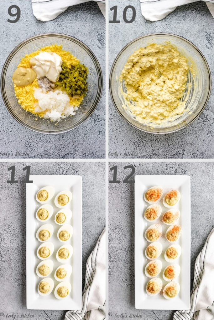 Collage style photo showing how to make deviled egg filling.