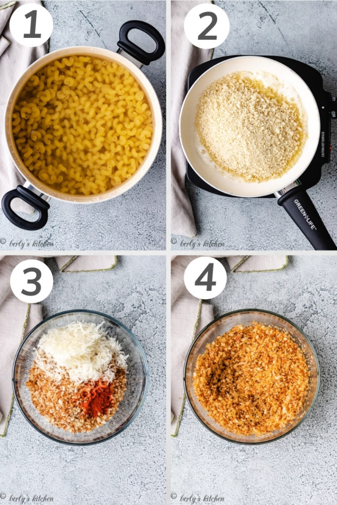 Collage style photo showing how to make paprika breadcrumbs.