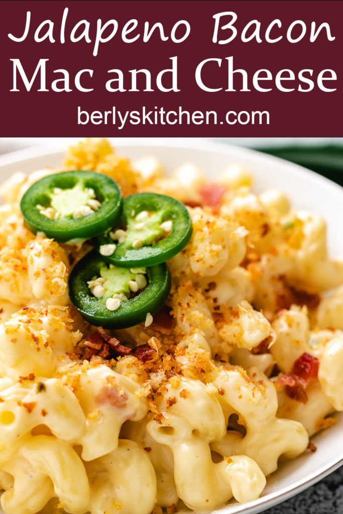 Creamy macaroni and cheese with jalapenos and bacon.