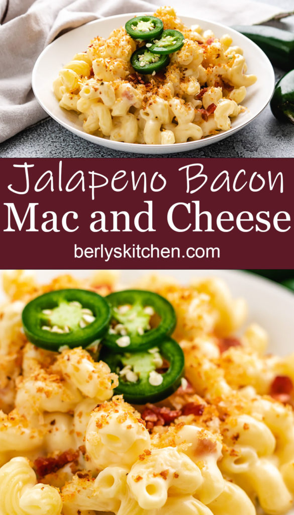Jalapeno bacon mac and cheese in a bowl.