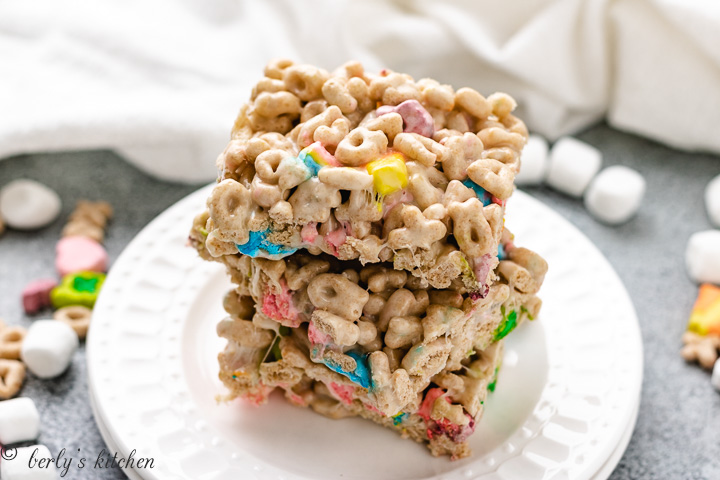 Stack of Lucky Charms Treats on a plate.