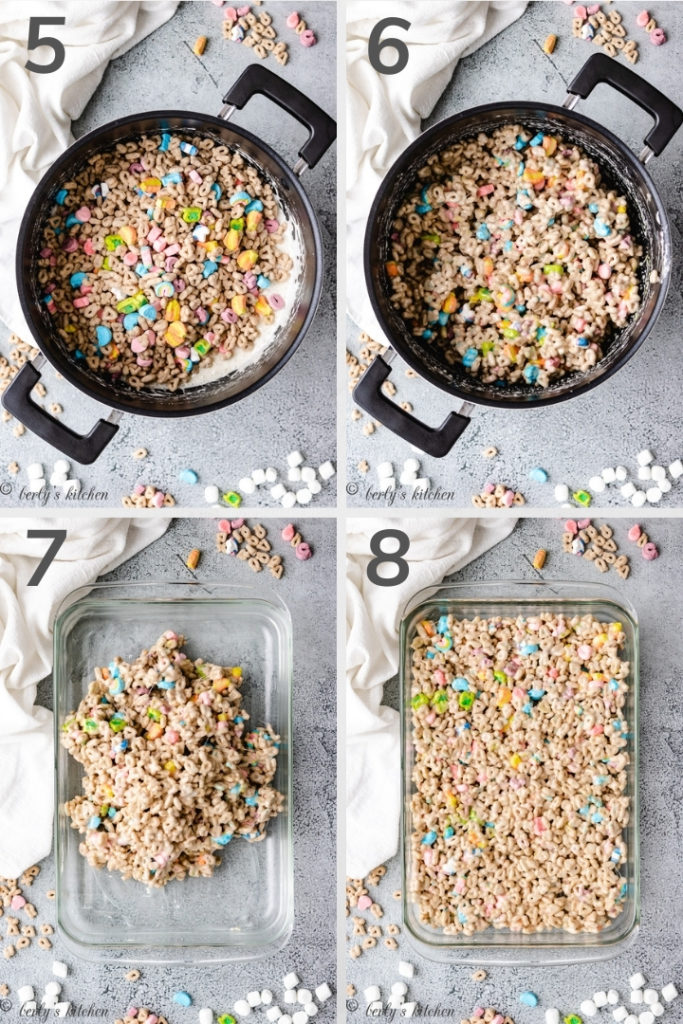 Collage style photo show how to make marshmallow treats.