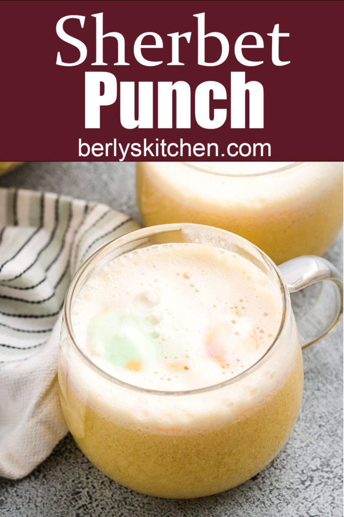 Sherbet punch in glass mugs.