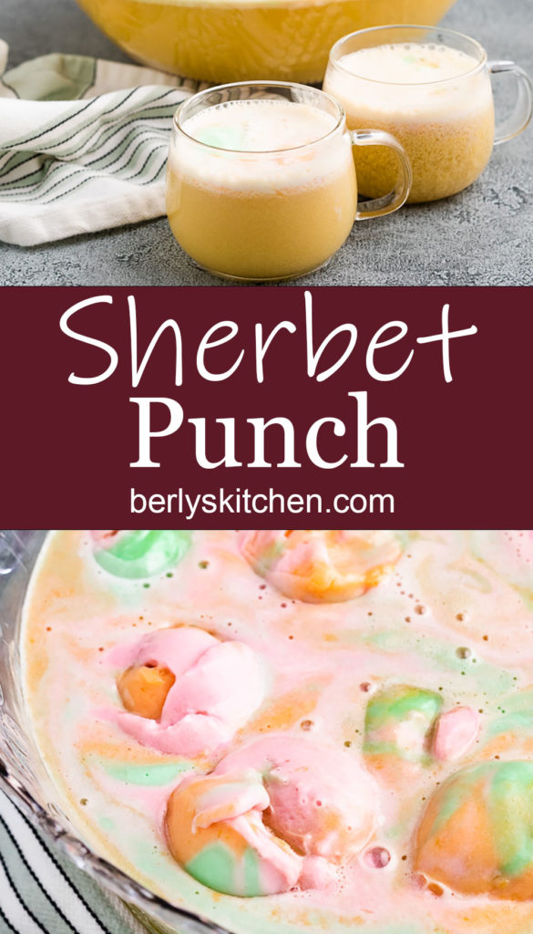 Collage style photo of punch in a punch bowl.