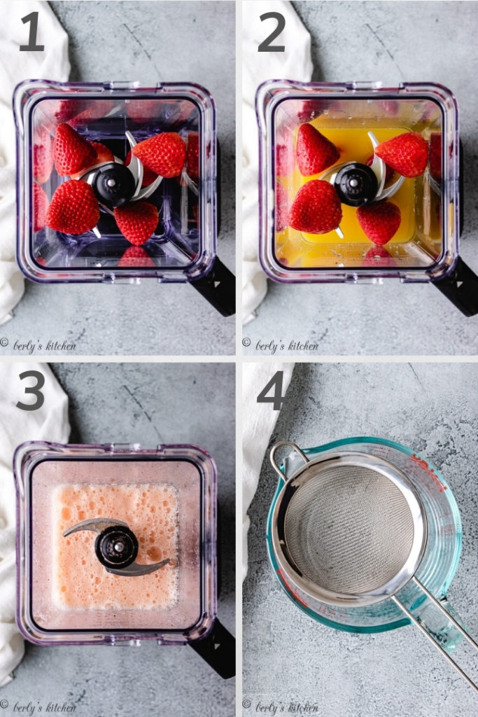 Collage style photos of fresh fruit in a blender.