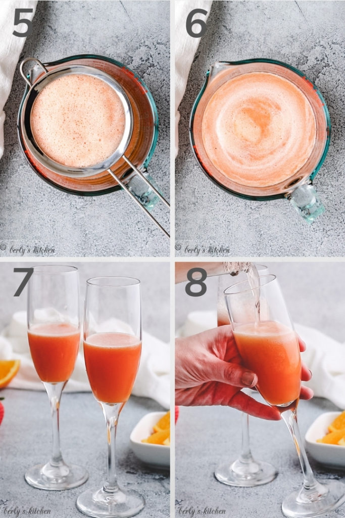 Collage style photos of fruit juice in measuring cups and glasses.