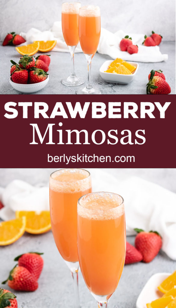 Two collage style photos of strawberry mimosas in long stemmed glasses.