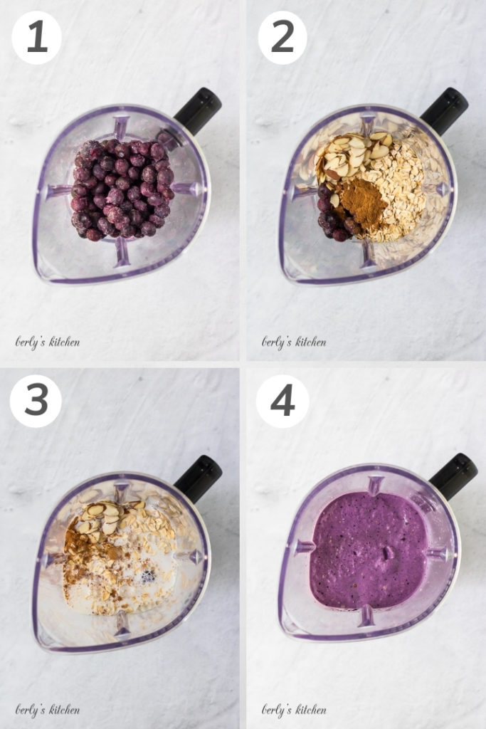 Collage showing how to make a blueberry smoothie.