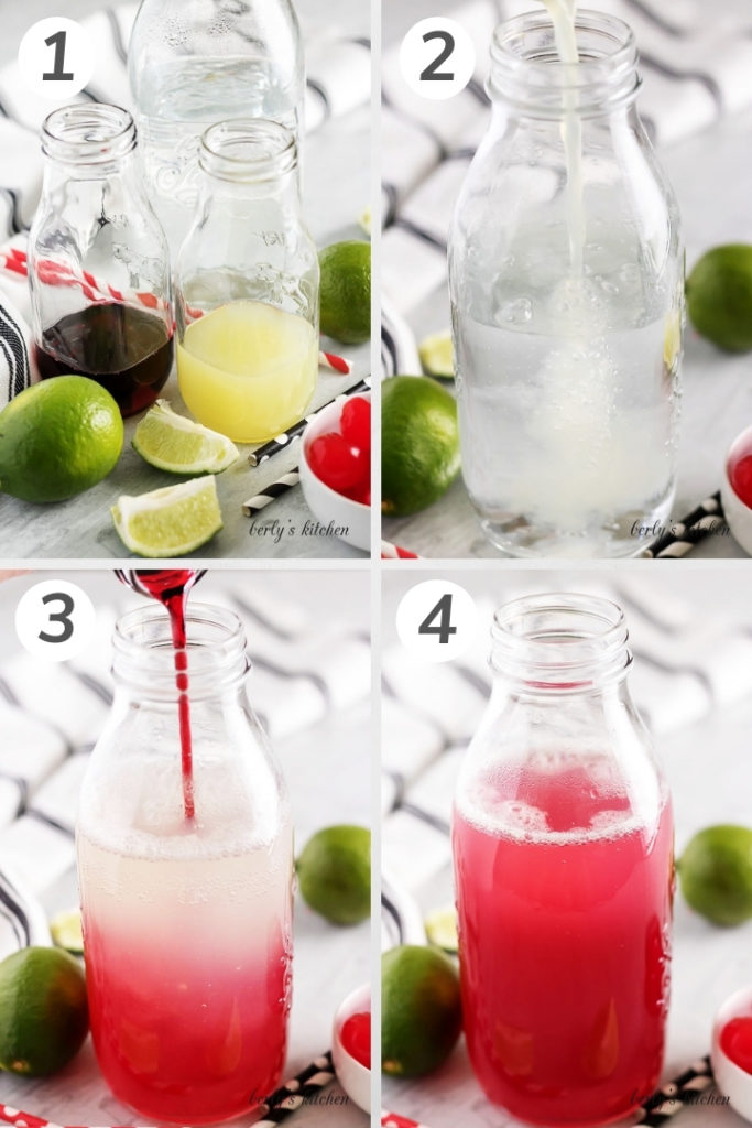Collage showing how to make a homemade cherry limeade.