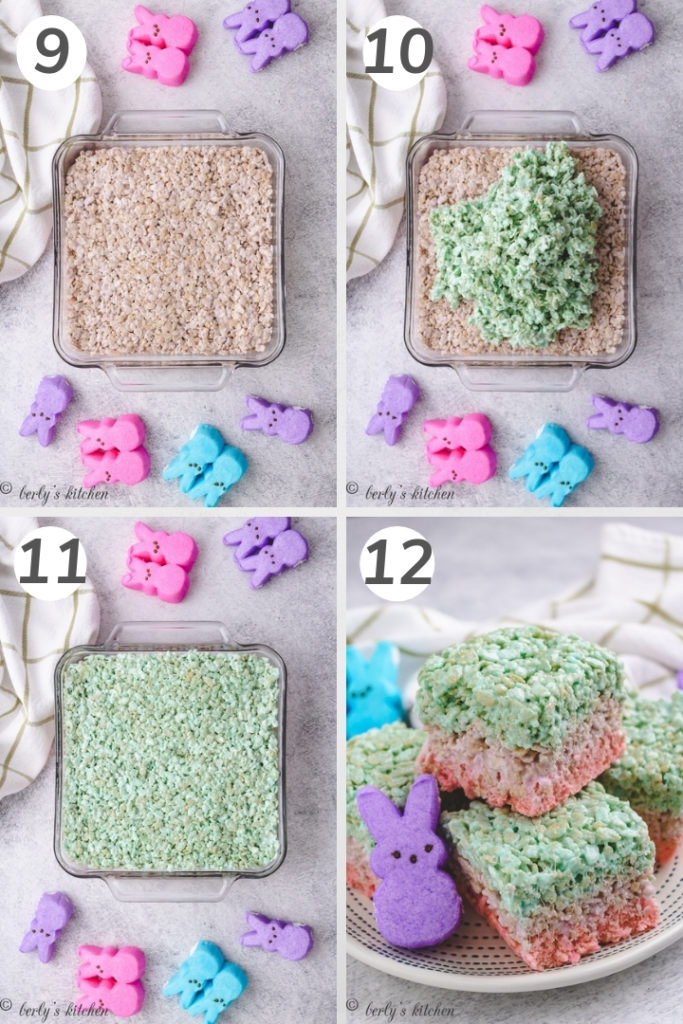 Collage showing how to make layered rice krispie treats.