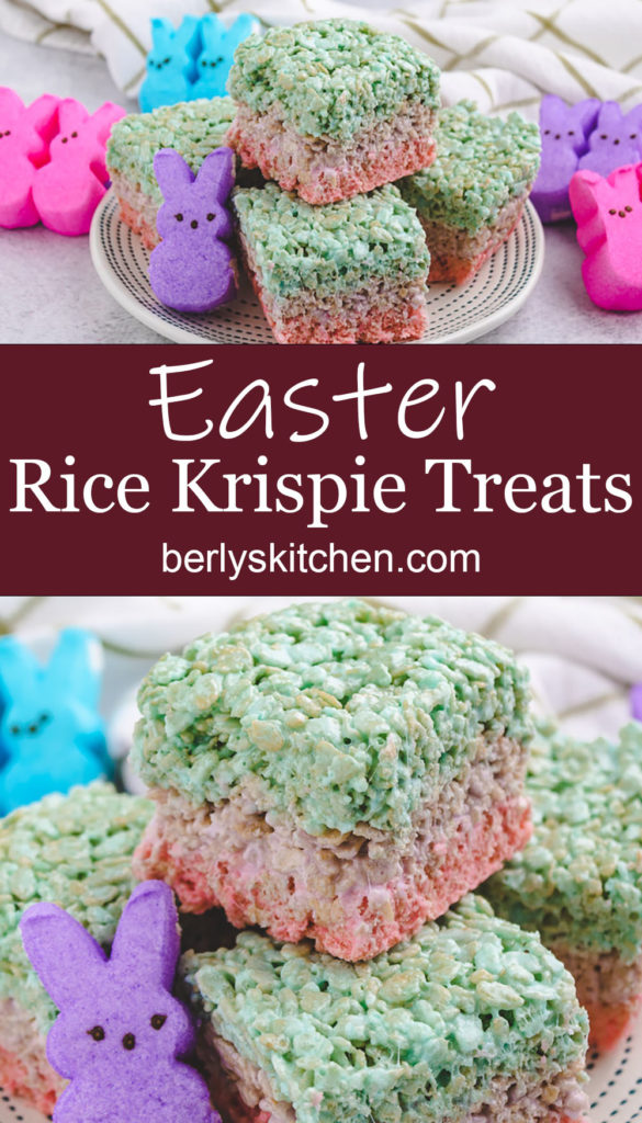 Collage style photo showing layered easter rice krispie treats.