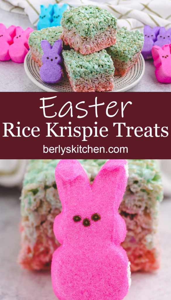 Collage style photo showing easter rice krispie treats.