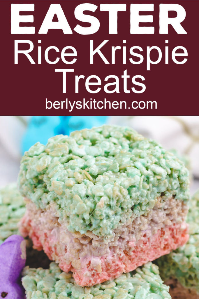 Purple, pink, and blue rice krispie treats made with peeps marshmallows.