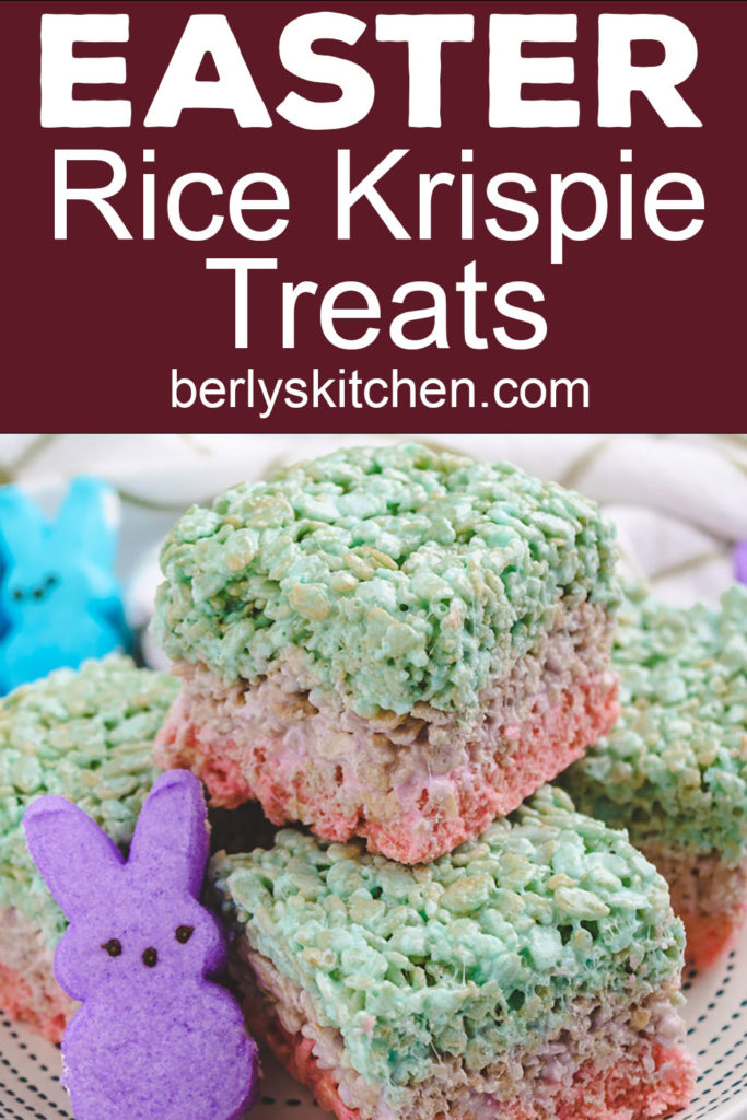 Collage showing colorful rice krispie treats made with peeps.