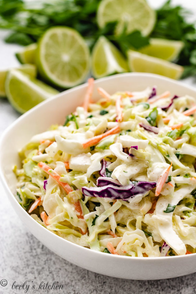 Close up view of cabbage slaw in a white bowl.