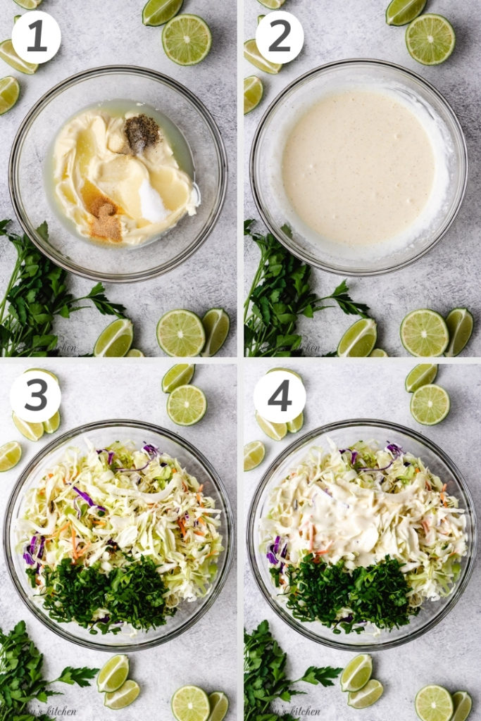 Collage style photo of how to make fish taco slaw.