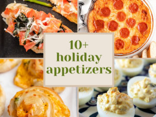 Collage showing photos of appetizers.