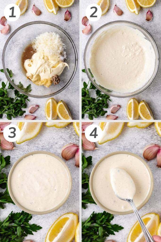 Collage style photo showing how to make homemade Caesar dressing.