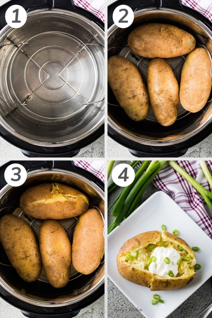 Collage style photo showing how to make Instant Pot baked potatoes.