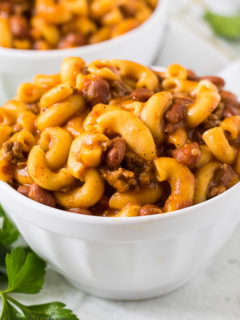 Close up of chili mac in a bowl.